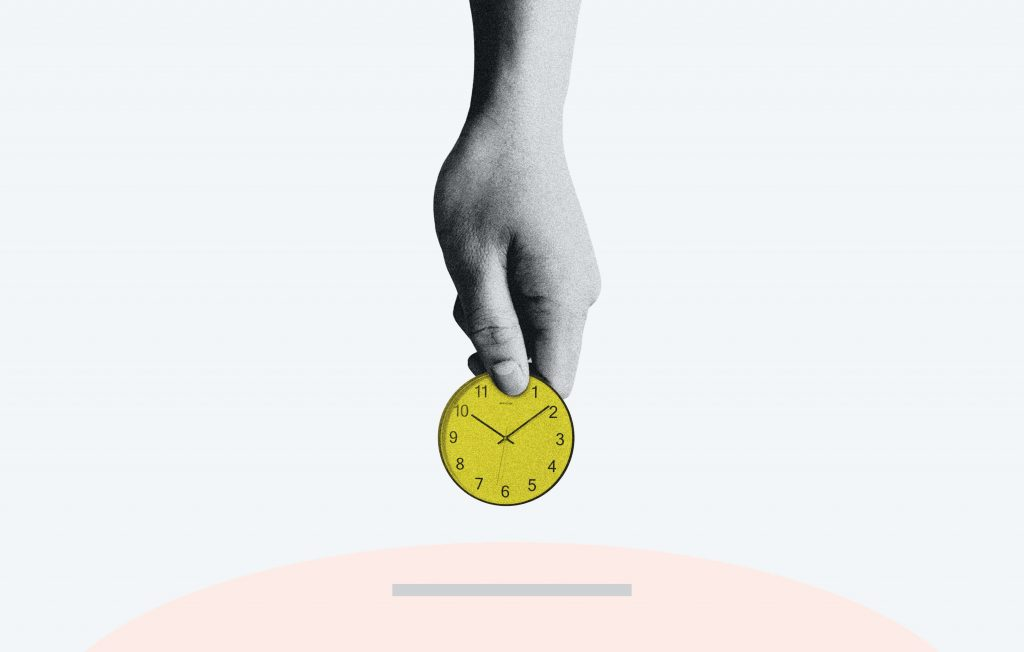 """Mixed media graphic of someone """"cashing in time"""", hand placing a clock into a slot as a symbol for converting active income to passive income"""